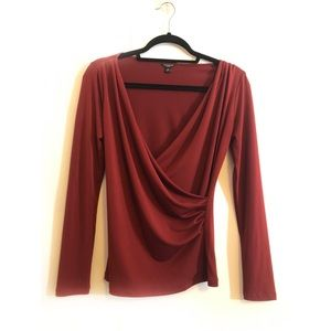 Ann Taylor Maroon Red Mock Wrap Blouse - Petite S